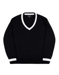 Point V-Neck Knit Black / Over Fit