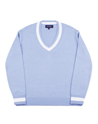Point V-Neck Knit - Sky Blue