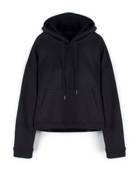 [W]CROPPED HOODIE BLACK / OVER FIT
