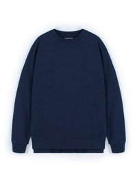 [W]Pigment Oversize Sweat Shirt Navy / Over fit