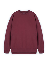 [W]Pigment Oversize Sweat Shirt Wine / Over fit