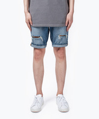 Bazan Destroyed Medium Blue / Slim Short