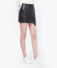 [W]Leather Rab Skirt Black / Semi A Line