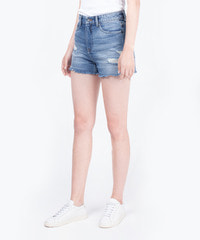 [W]Denim Half Destroyed / Short